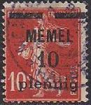 Германия Рейх (Мемель) 1922 год. НДП нового номинала (10 пфеннигов) на марке с номиналом 10 сантимов. 1 гашеная марка из серии