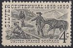 США 1959 год. 100 лет обнаружению серебра в штате Невада. Первые переселенцы и дикая лошадь. 1 марка