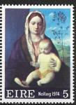 Ирландия 1974 год. Рождество. Мадонна Джованни Беллини, 1 марка