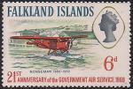 """Фолклендские острова 1969 год. 21-я годовщина Правительственной авиаслужбе. Самолёт """"Норсман"""". 1 марка из серии (н-л 6)"""