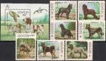"""Лаос 1986 год. Филвыставка """"Стокгольм-86"""". Собаки (193.944). 7 марок + блок"""