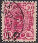 Русская Финляндия 1889-92 год. Герб. 10 пенни (красная). 1 гашеная марка из серии