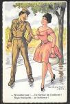 Карточка. Франция. Девушка и военный