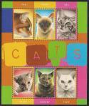 """Малый лист и блок """"Кошки"""". Гайана"""
