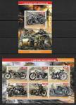 Джибути 2015 год. История транспортных средств, мотоциклы, блок и малый лист.