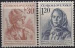 ЧССР 1954 год. 10 лет Словацкому Национальному восстанию. Словацкие партизаны. 2 марки с наклейкой