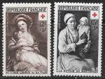 Франция 1953 год. Красный крест. Матери с детьми, 2 марки. наклейки