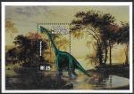 Мальдивы 1999 год. Динозавры, блок. (влево)