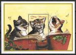 Гамбия 1998 год. Рождество и кошки, блок