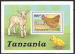 Танзания 1988 год. Домашние животные. Курица, цыпленок, овечка, блок
