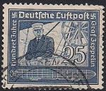 Германия. Рейх 1938 год. 100 лет со дня рождения Ф.Цеппелина. 1 гашёная марка из серии (н-л25)