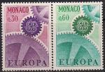 Монако 1967 год. Европа СЕПТ. Символические зубчатые колёса. 2 марки