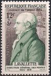 Франция 1954 год. День почтовой марки. Генеральрный директор почты А.-М. Шаман. 1 марка с наклейкой