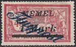 Германия Рейх (Мемель) 1922 год. Авиапочта. НДП нового номинала (1 марка) на марке с номиналом 40 сантимов. 1 марка с наклейкой из серии