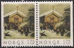 """Норвегия 1982 год. Картина Адольфа Тидермана """"Рождество в деревне"""".  Пара марок с левой и правой обрезкой"""