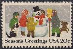 США 1982 год. Дети и снеговик. 1 марка с наклейкой