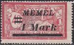 Германия Рейх (Мемель) 1922 год. НДП нового номинала (1 марка) на марке с номиналом 40 сантимов. 1 марка с наклейкой из серии