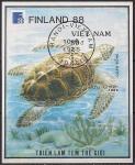 """Вьетнам 1989 год. Международная филвыставка """"Финляндия-88"""" в Хельсинки. Морская черепаха. 1 гашёный блок"""