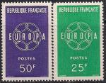 """Франция 1959 год. Европа СЕПТ. Символическая цепочка из шести звеньев вокруг """"Европа"""". 2 марки"""