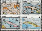 Куба 1973 год. Кубинская картография, 4 гашёные марки