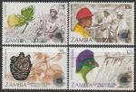 Замбия 1983 год. День Содружества, 4 марки (с наклейкой)