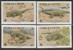 Острова Тёркс и Кайкос 1986 год. Кольцехвостые игуаны, 4 марки