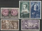 """Намибия 1952 год. Годовщина высадки поселенцев на мысе """"Доброй Надежды"""", 5 марок с надпечаткой"""