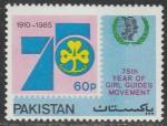 Пакистан 1985 год. 75 лет организации девочек - скаутов. Международный год молодёжи, 1 марка