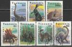 Танзания 1991 год. Доисторические животные, 7 гашёных марок