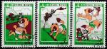КНДР 1989 год. Мультфильмы, 3 гашёные марки