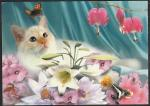 """ПК с литерой """"В"""". Кошка, бабочка и цветы. Выпуск 21.01.2000 год, прошла почту"""