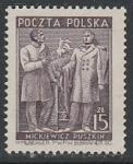 Польша 1949 год. Адам Мицкевич и Александр Пушкин, 1 марка. наклейка