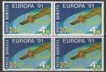 Румыния 1991 год. Европейская космонавтика, квартблок (Ю)