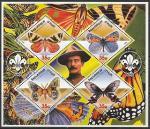 Гаити 2005 год. Полковник Баден-Пауэлл, основатель скаутского движения. Бабочки, блок