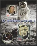 """Мали 2007 год. Космическая программа """"Аполлон-11"""". Космонавт Нил Армстронг, президент Джон Кеннеди, блок"""
