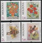Молдова 2010 год. Цветы в живописи, 4 марки