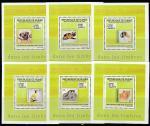 Гвинея 2009 год. Кошки и собаки на марках, 6 люксблоков