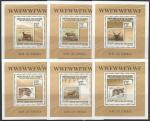 Гвинея 2009 год. Фауна WWF на марках, 6 люксблоков
