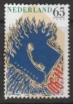 Нидерланды 1990 год. Место пожара, номер службы экстренной помощи, телефон, 1 марка