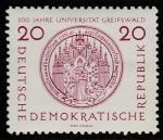 ГДР 1956 год. 500 лет Грасвальдскому университету, 1 марка (с наклейкой)