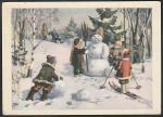 ПК. Дети лепят снеговика, 1961 год, прошла почту