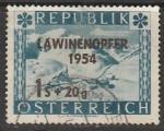 Австрия 1954 год. Сход лавины на горнолыжном курорте Санкт-Кристофер на Арльберге, 1 марка с надпечаткой (гашёная)