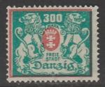 Германия (Рейх) Данциг 1923 год. Большой государственный герб, 1 марка (с наклейкой)