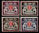 Германия (Рейх) Данциг 1923 год. Большой государственный герб, 4 марки (с наклейкой)