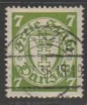 Германия (Рейх) Данциг 1933 год. Государственный герб в овале, 1 марка (гашёная)