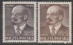 Польша 1952 год. В.И. Ленин, 2 марки (наклейка). (30 гр,15 гр)