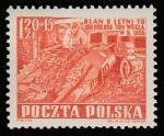 Польша 1952 год. Шестилетний план. Добыча полезных ископаемых, 1 марка (наклейка)