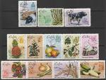 Куба 1969 год. Земледелие и животноводство, 12 гашёных марок (2 сцепки + 3 марки)