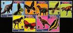 Конго 2005 год. Бабочки и динозавры, 5 марок с купонами