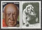 Польша 1981 год. 100 лет со дня рождения художника Пабло Пикассо, 1 марка с купоном